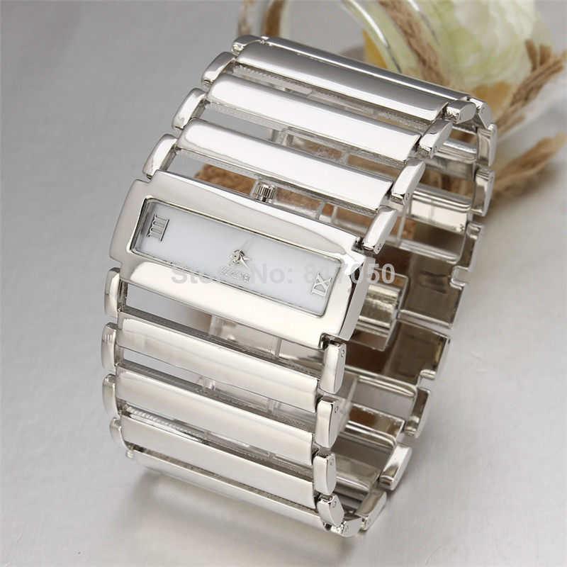 2015 new fashion golden big rectangle case wristwatches steel chain strap bracelet best female gift women dress quartz watches<br><br>Aliexpress