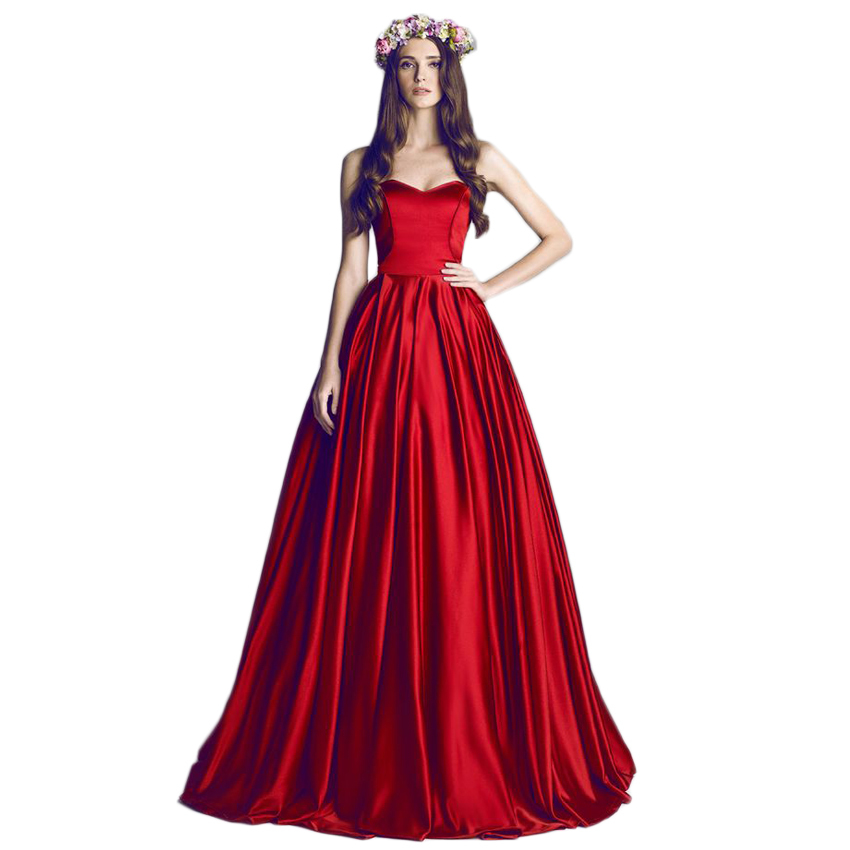 New Fashion Sweetheart Elegant Red Wedding Dress Long Train Simple Winter Bridal Gowns Satin On Promotion