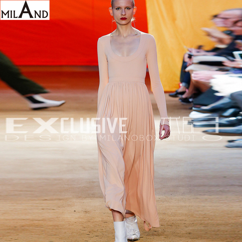 Long sleeves back bow backless apricot dress long dresses 2016 runway dresses high quality women's autumn collection 629(China (Mainland))