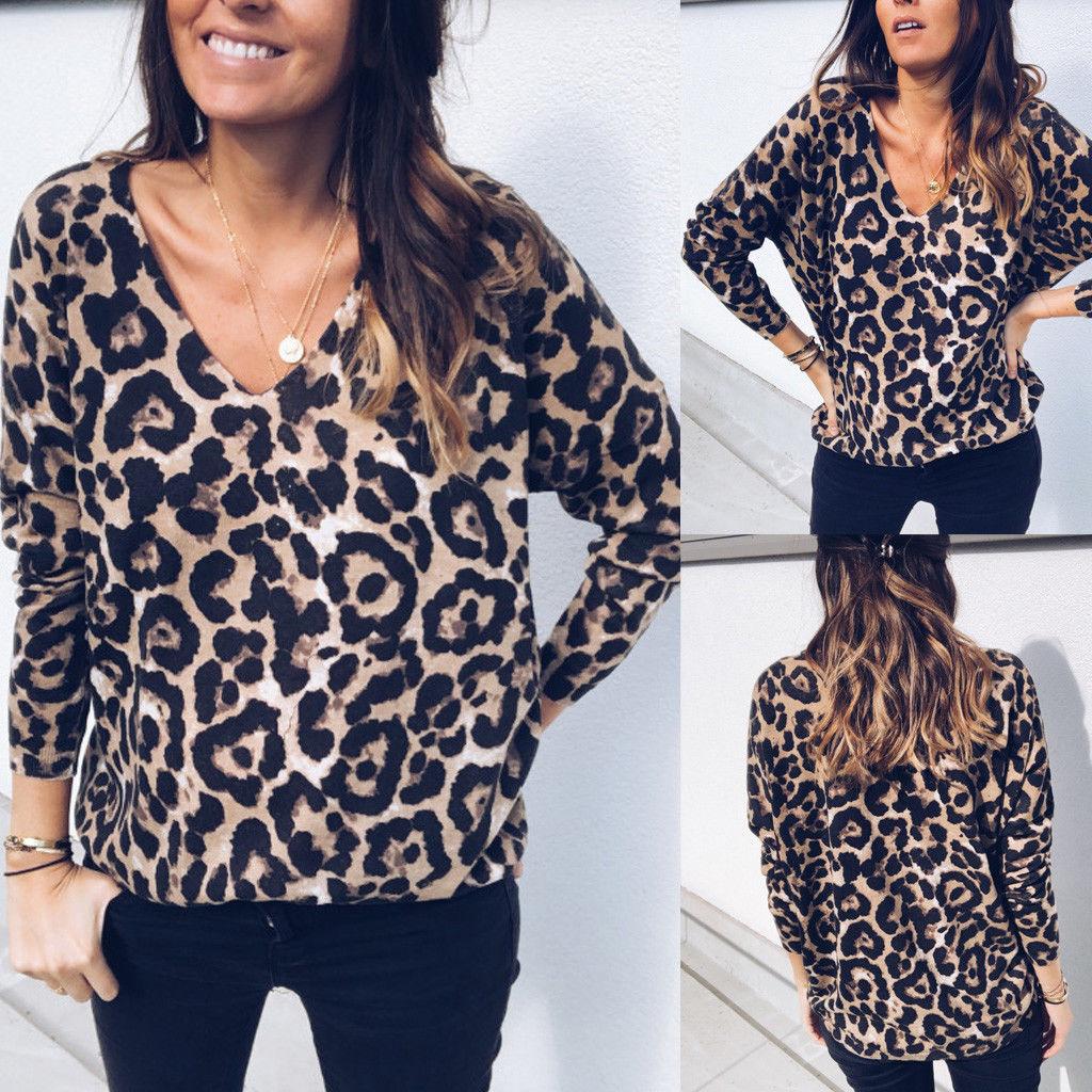 2019 arrival Vrouwen Leopard Gedrukt Lange Mouwen V-hals Herfst Blouse High Street Stijlvolle Cool Losse Shirts S-XL