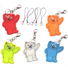 Bear,Reflective Keychain,reflective pendant for visibility safety use,come with mobile phone strap,Free shipping(China (Mainland))