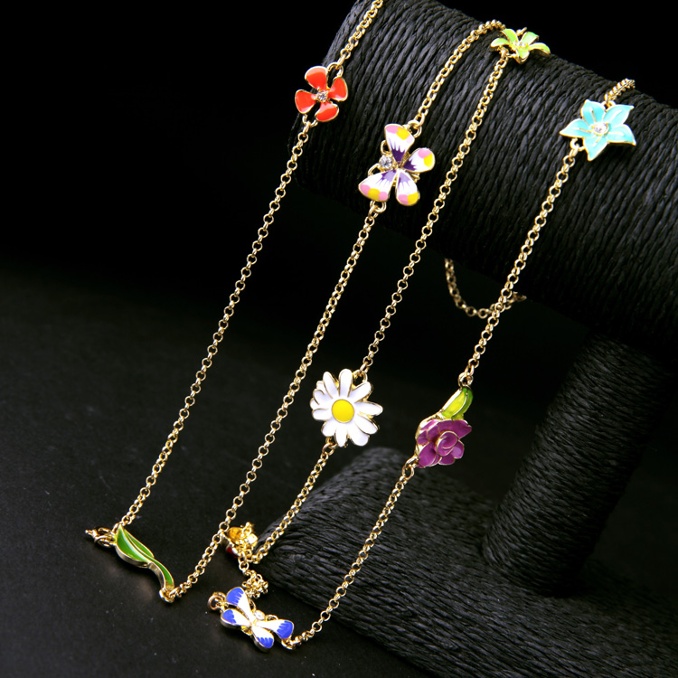 Fresh Summer Spring Girls Glaze Flower Ladybug Crystal Long Winding Chain Necklaces Factory Wholesales V836(China (Mainland))