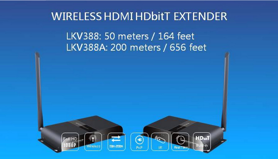 Newest HD1080P 3D Wireless HDMI Video Transmitter and Receiver IR-HDBitT Extender up to 200M/656 Feet HDMI Converter Cable(China (Mainland))