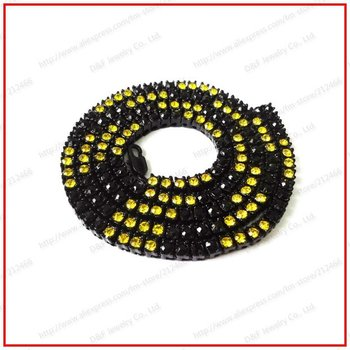 "2012 Hot Sell 30"" 5mm Black Plated Black&Yellow Men's one Row Iced Out Bling Hiphop CZ Chain Necklace"