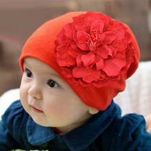 baby children girl Stretch Crochet Flower Hat infant kids caps hats&caps children accessories