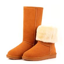 Venta al por mayor! 2014 botas de nieve mujeres de cuero reales Winter Classic de algodón botas planas zapatos(China (Mainland))