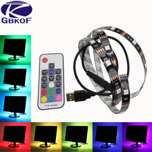 Buy 5V USB LED strip 5050 RGB flexible light 0.5M 1M 2M IP65 Waterproof IP20 TV Background Lighting Strip 17Key RF controller for $3.90 in AliExpress store