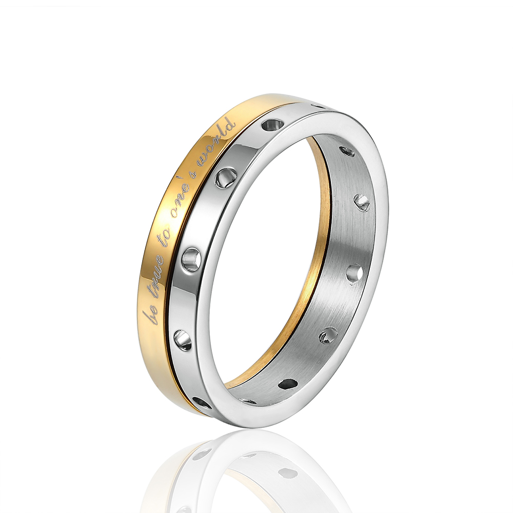 20160Hot fashion 316L stainless steel plated 18K gold Love  ring, engagement ring married women