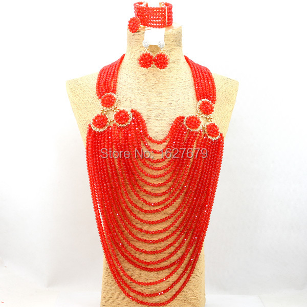 Ladies crystal beads jewlry set with 6 hats in ORANGE RED. African wedding jewlry set with 18 rows necklace, earrings, bracelet.(China (Mainland))