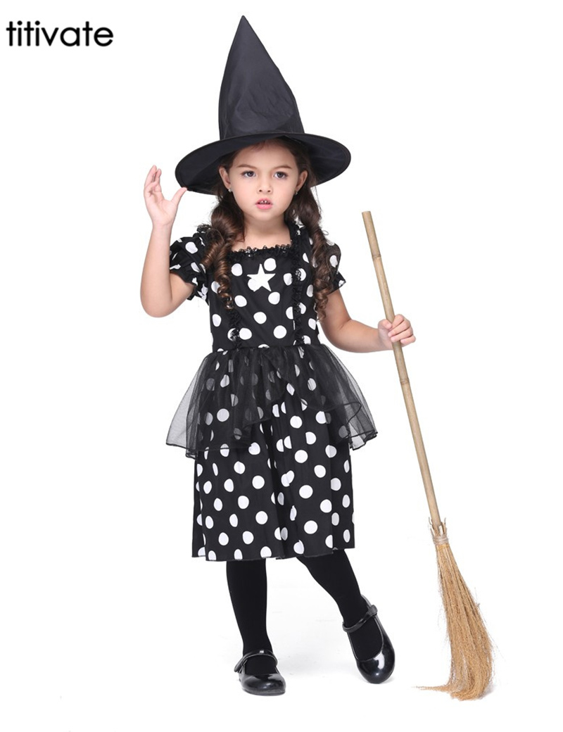 Festival Night Party Black&White Witch Cosplay Costume Halloween Stage Performance Girl Costumes Carnival Outfit Dress Kids Suit(China (Mainland))