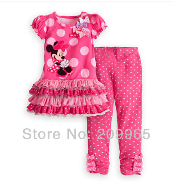 Pink Polka Dots Cute Cartoon Dress Pants Baby Girls 2 Piece Set Summer 2014 Kids Clothes Suit Childrens Clothing Toddler Wear(China (Mainland))