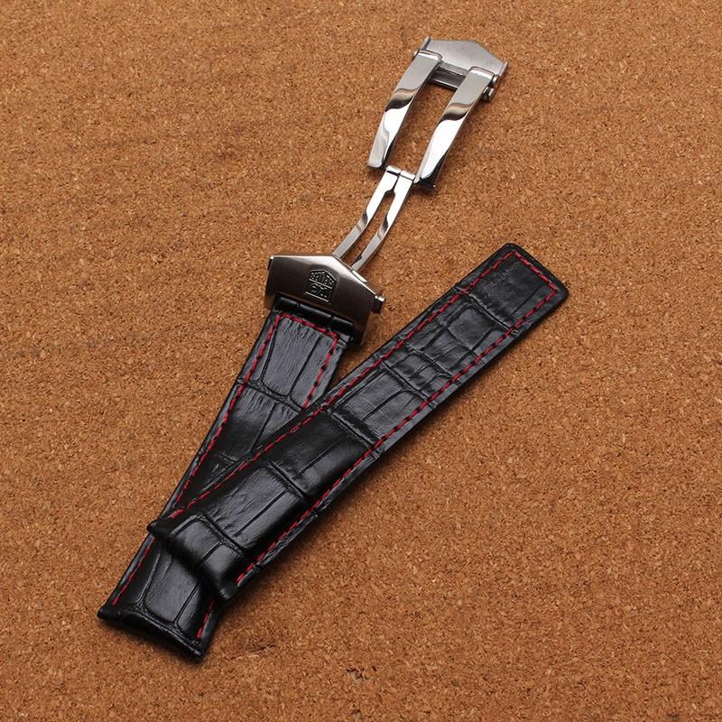 Новый Ремешок Для Часов Крокодил картина натуральная кожа красный прошитой 20 мм 22 мм 24 мм черный часы аксессуары браслет ремешок группа