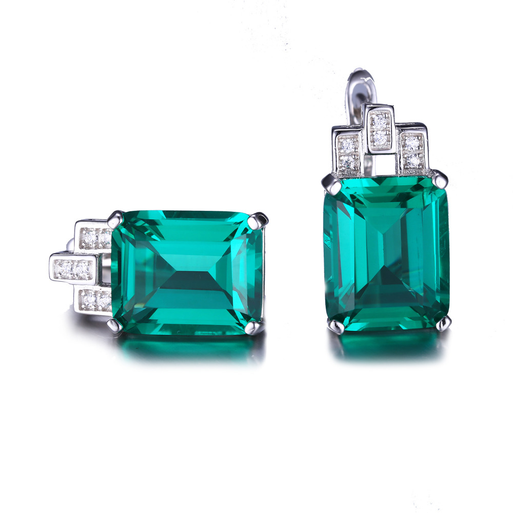 8.33ct Luxury Nano Russian Emerald Clip Earrings Fashion Women Gift 925 Solid Sterling Silver Jewelry 2015 Brand New Hot Sale