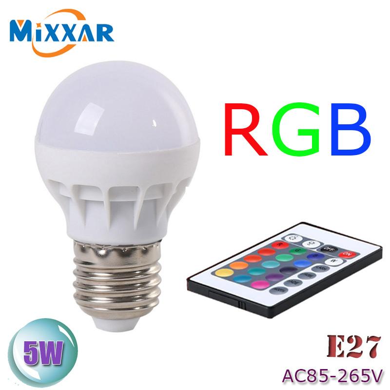 zk51 LED RGB Bulb Lamp AC85-265V E27 5W LED RGB Spot Blubs Stage Light Magic Holiday RGB lighting+IR Remote Control 16 Colors(China (Mainland))