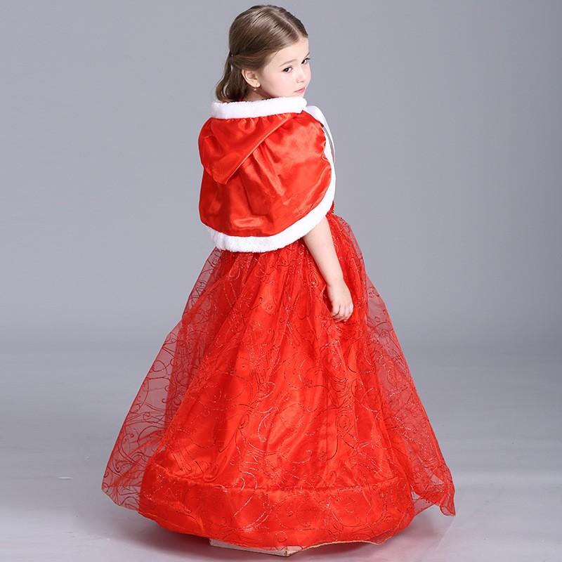 Baby Girl Coustume Outfit Little Red Riding Hood Dress With Hooded Cloak Child Bow Sequined Ball Gown Christmas Costume Gift