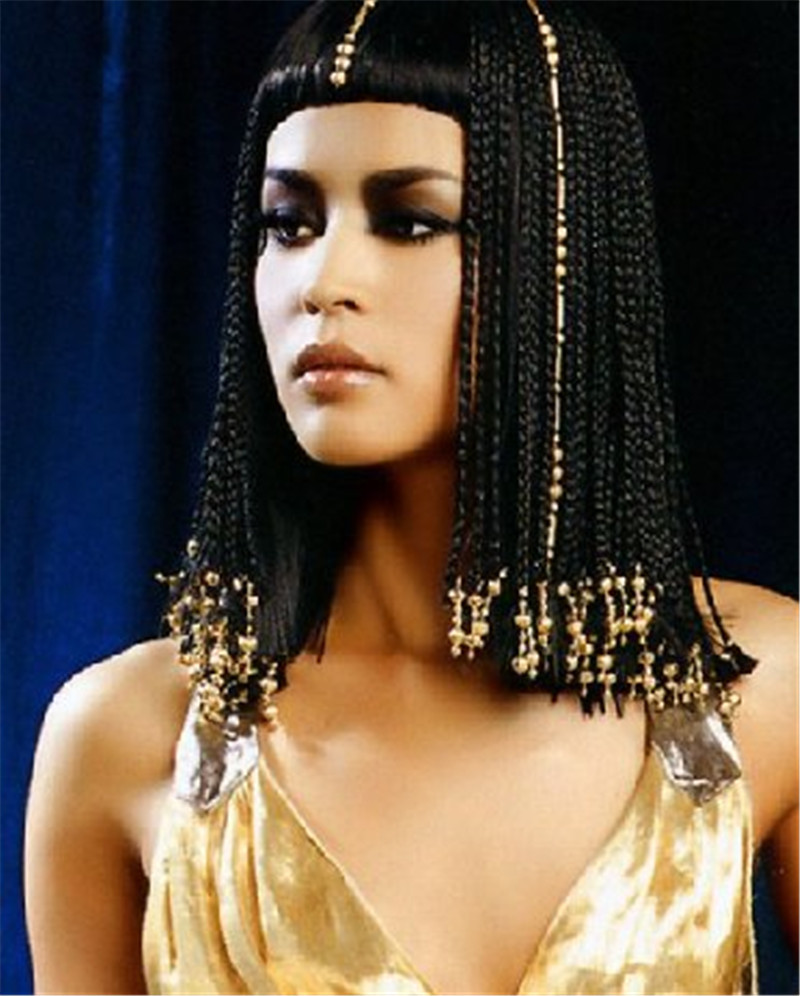 Long Braid Black Cosplay Wigs Egypt Cleopatra Neat Bangs Synthetic Hair Wig Online 018 - Fstyle Doll wig store