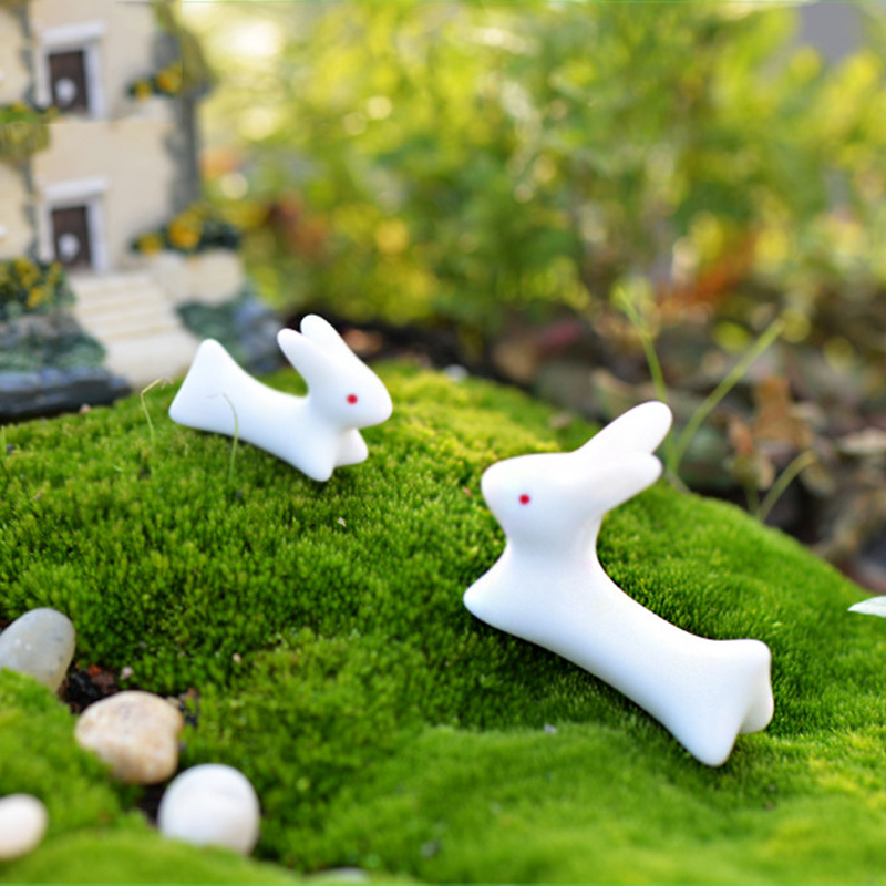 4pcs white rabbit fairy garden miniatures tonsai terrarium for Figurine decoration jardin