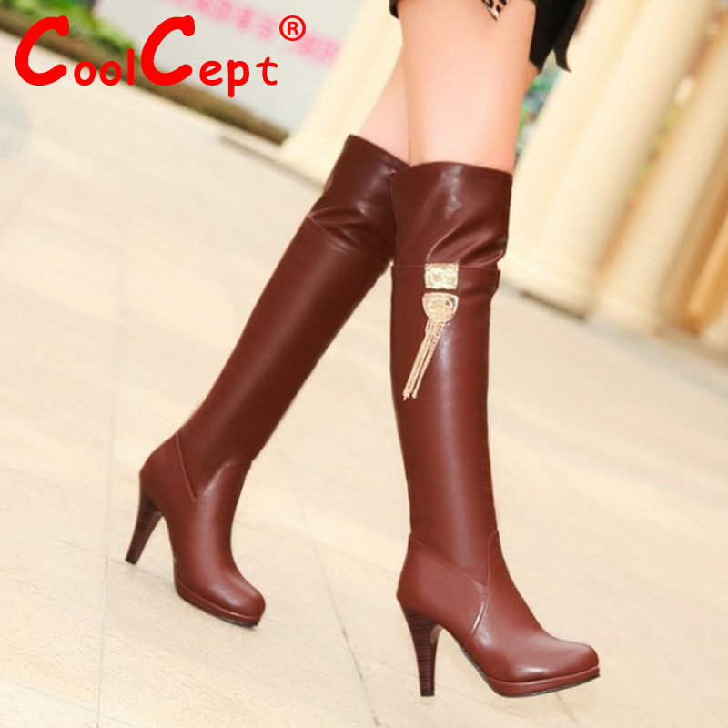 CooLcept Free shipping over knee high heel long boots women snow fashion winter warm footwear shoes boot P15056 EUR size 34-39<br><br>Aliexpress