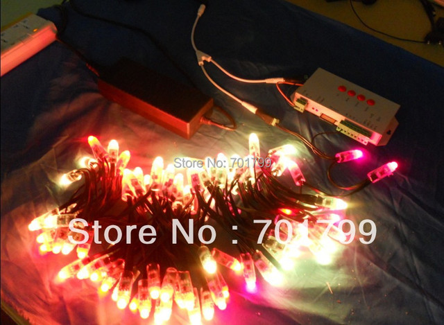 DC12V input 12mm WS2811 pixel node,100pcs a string,IP68 rated;with all black wire