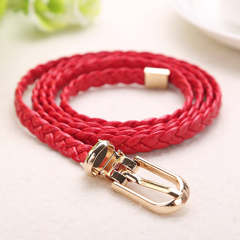 New Fashion Women Belt Ladies Faux Leather Metal Buckle Bling Gold Plate Straps Girls Belts Accessories