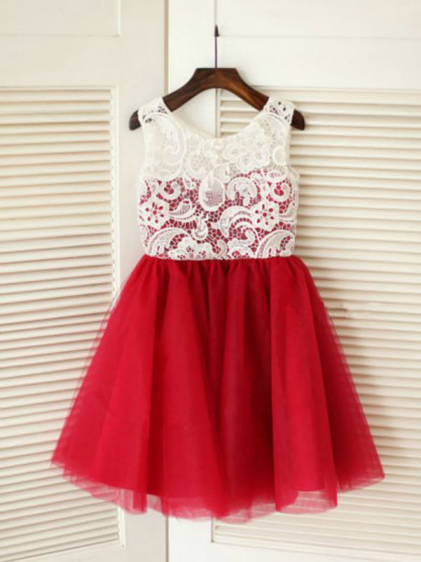 Фотография A-Line  Flower Girls Dresses For Wedding Gowns Lace Girl Birthday Party Dress  Knee-Length Baby Dress