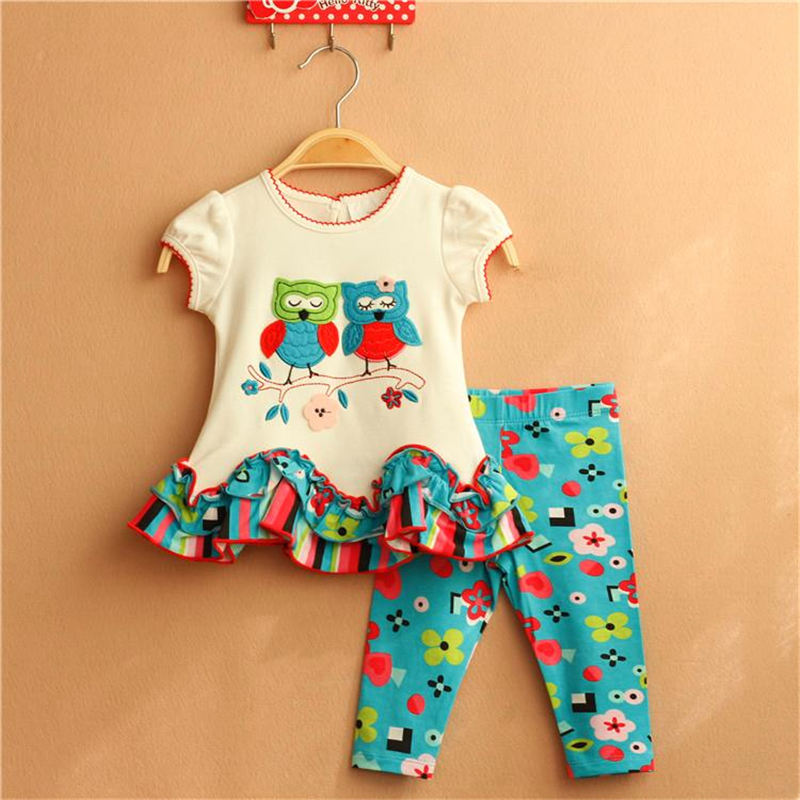 Newborn Baby Girl Clothes Top Quality Cotton Baby Summer Clothes Animal Pattern OWL Tops+Pants Newborn Bebes Clothing Set(China (Mainland))