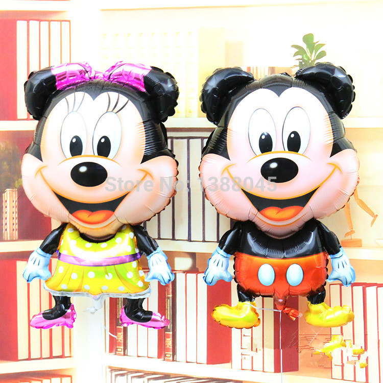 2 pcs/lot New Large Standing Mickey & Minnie Cartoon Helium Foil Balloons Mickey Birthday Party Decoration Globos Party(China (Mainland))