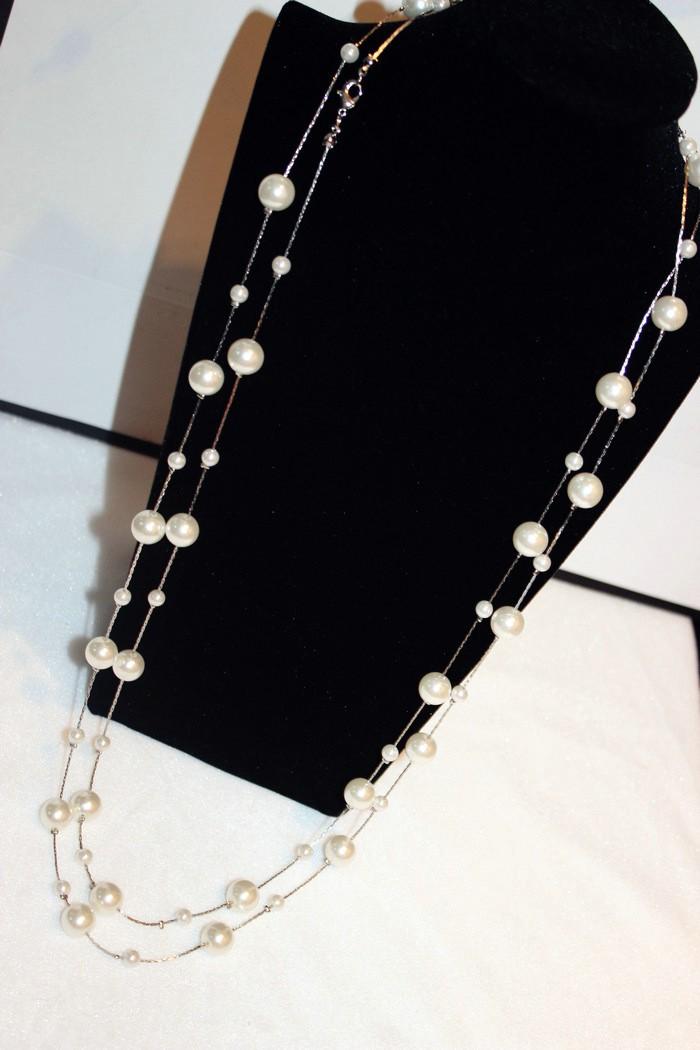 HTB1RDzQJFXXXXXOXFXXq6xXFXXXw - White Simulated Pearl Jewelry Multi-Layer Long Necklace Women Bijoux Fashion Classic Beads Chain Necklaces & Pendants Gift