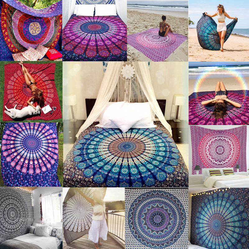 Indian Mandala Tapestry Wall Hanging Hippie Boho Printed Bedspread Ethnic Beach Throw Towel Yoga Mat Art Home Decor 210*148cm
