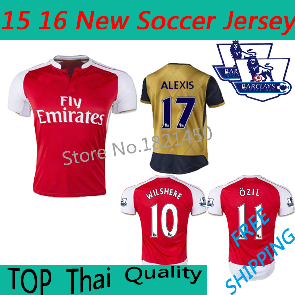 Thail Quality 2015 16 Soccer jersey 2015 Home Away WILSHERE ALEXIS OZIL GIROUD CHAMBERLAIN WALCOTT RAMSEY football shirt(China (Mainland))