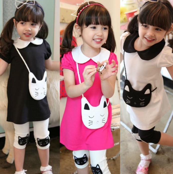 2014 New Children cat pocket dress + leggings 2pcs set fashion girls short sleeve dresses kids casual clothing baby wear 5set<br><br>Aliexpress