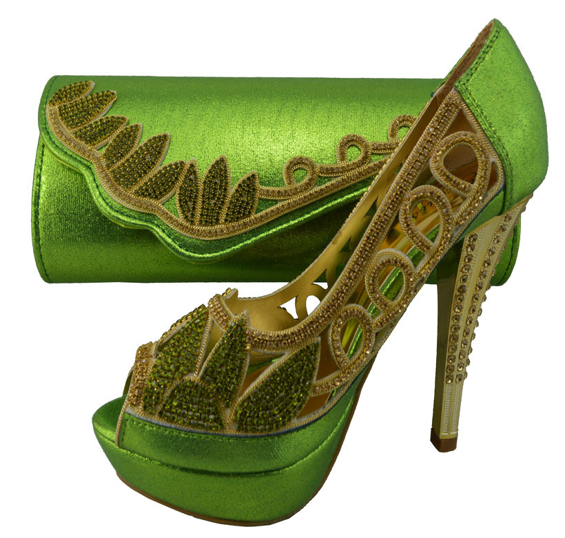 Nice design Fashion Italian shoes and bags with rhinestones to match for wedding,high quality!Size 38-42 TBS1-93 green colorful!(China (Mainland))
