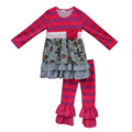 2016 Cute Newborn Baby Clothes Toddler Girls Outfit Cotton Chick Tops Kids Double Ruffle Pants Children Fall Clothing Sets F082