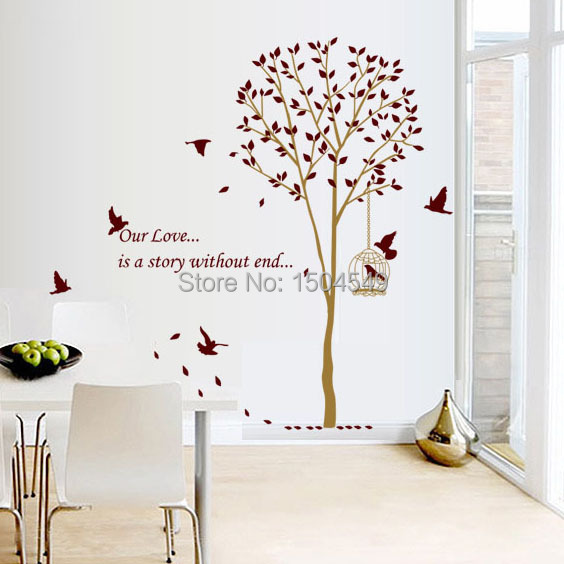 Buy 140 185cm large brown family tree for Diy family tree wall mural