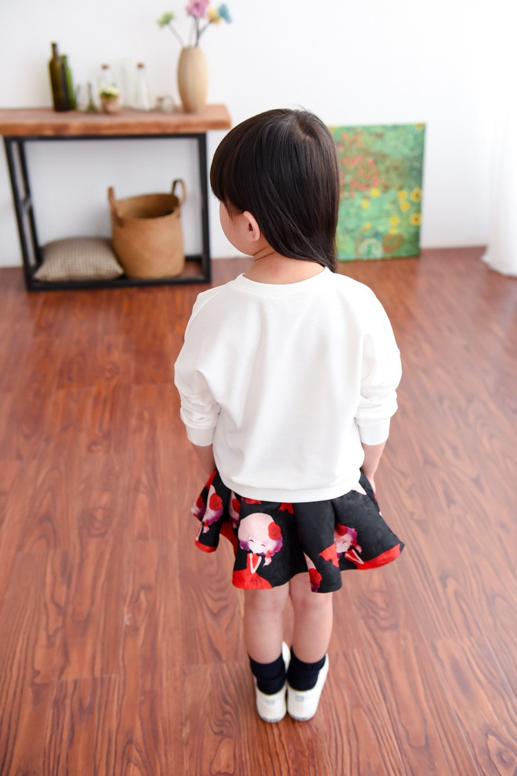 Retail Sale ! Spring Autumn New Fund New Cartoon Blouse And Skirt Of The Girls  Suits Clothing Set   Free Postage