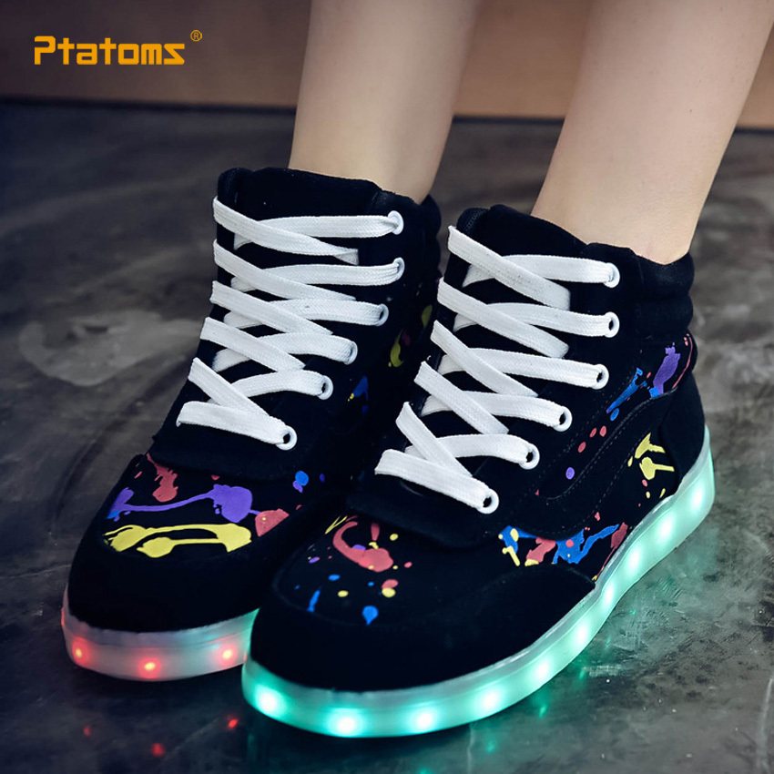 High Top Led Colorful Valentine Shoes Fashion USB Rechargeable Ladies Light Up Sneakers For Adults 2015 New(China (Mainland))