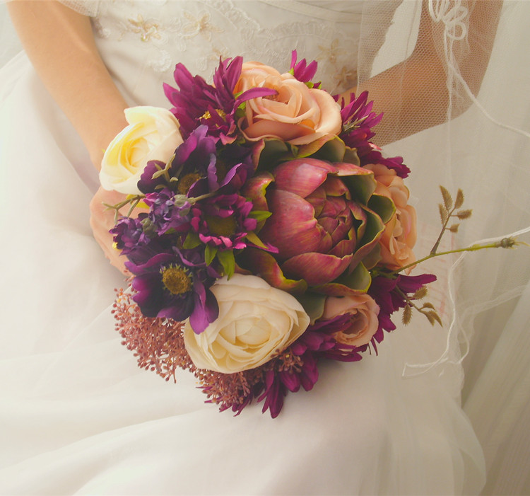 Cost Of Wedding Flowers 2017 : European retro court wedding flowers bouquet bridesmaid