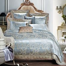 Home decoration baby blue Cotton satin luxury jacquard embroidered six pieces set sheets bedding sheets Roupa CAMA conjuntos(China (Mainland))