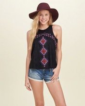 HOT 2016 new lady ethnic flower embroidery white black cotton tank tops woman summer vacation casual pullover tees 230416(China (Mainland))