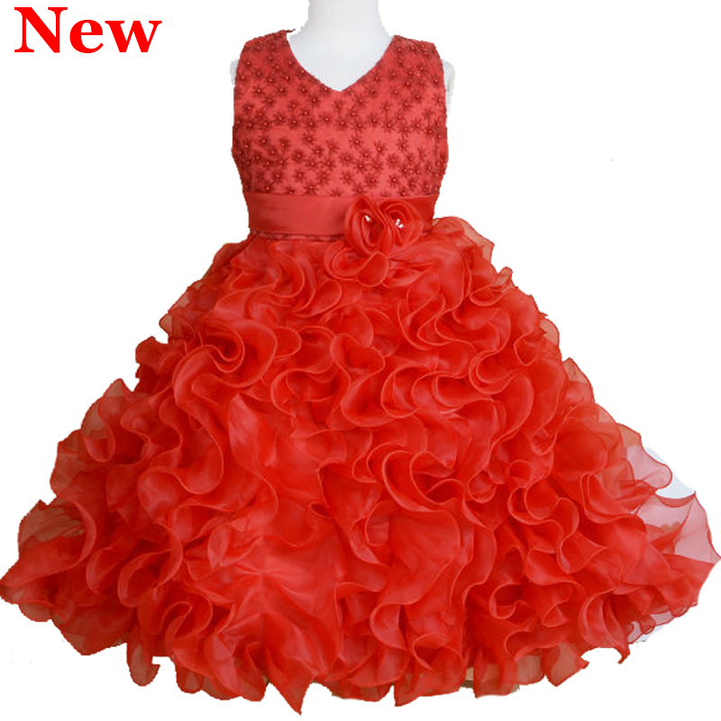 2015 New Summer 2-10T Flower Girl Princess Dresses Beaded Organza Lace Dress for Party Wedding Frocks Ball Gowns Tutu 4 Colors<br><br>Aliexpress