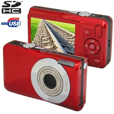DC 650 Red 15 0 Mega Pixels 5X Optical Zoom Digital Camera with 2 7 inch