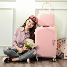 """Buy 2PCS/SET lovely business 20""""24 inches trolley case ABS+PC students Travel luggage Ms rolling suitcase girl handbag Boarding box for $85.40 in AliExpress store"""