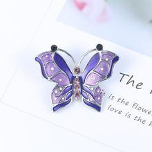 Baiduqiandu Merek Berbagai Macam Warna Merah Biru Pink Ungu Hijau Enamel Pin Bros Kupu-kupu(China)