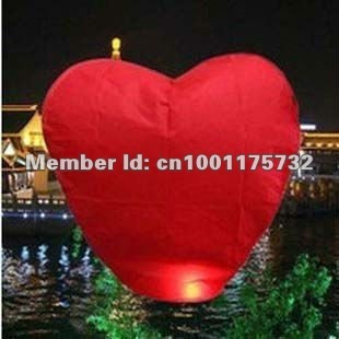 Wholesale - Red color Heart Sky Lanterns Wishing Lamp Chinese KongMing Lantern Halloween Light 100pcs/lot
