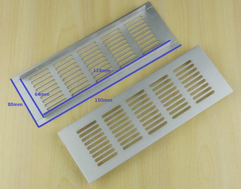 10Pcs/Lot Anodized Aluminum Air Vent Ventilator Grille Cover Ventilation For Closet Shoe Cabinet 150*80mm(China (Mainland))