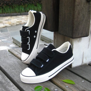 2013 male canvas shoes velcro the boys spring and autumn solid color casual fashion shoes men's