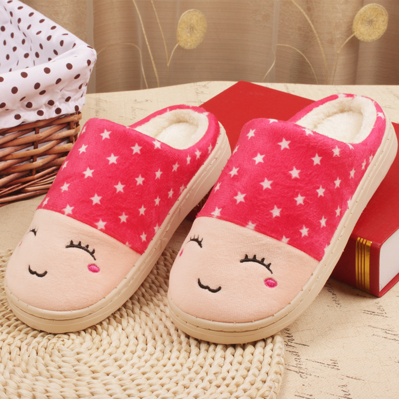 Smiling Face Cotton Slippers Women Thick Warm Winter Indoor Slipper Home House Slippers Shoes Wholesale Free Shipping(China (Mainland))