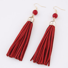 2016 Ethnic style Charms Vintage Leather Tassel Drop Long Earrings Fashion Jewelry For Women Wholesale(China (Mainland))