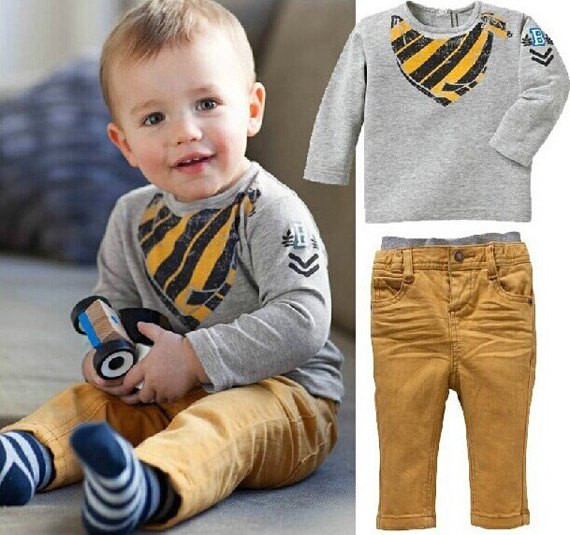 wholesale 2015 new arrival boy clothing set Long Sleeve T-Shirt + Pants gray brand baby boy clothes cute printed roupa infanti<br><br>Aliexpress