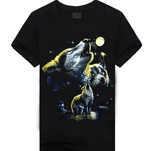 XQS Men Three Wolf 3D Print O-Neck Short Sleeve T Shirt(China (Mainland))